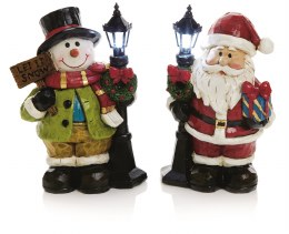 Christmas LED Snowman or Santa With Lamp Post 10x6cm Battery Operated