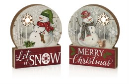 Christmas Snowglobe Snowman with Led Lights 14cm x 11cm - Battery Operated