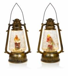 Christmas Water Spinner Lantern with Christmas Scene and LED Lighting 24cm