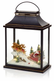 Battery Operated Christmas Lantern with Christmas Scene and LED Lighting 41cm