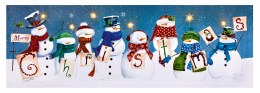 Christmas Canvas Snowman Scene with Lights 30x90cm