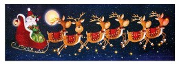 Christmas Canvas Santa and Reindeers with Lights 30x90cm