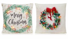 Christmas Cushion with Wreaths and LED Lights 45x45cm