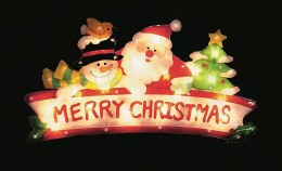 Premier Santa Snowman With Tree Window Silhouette Sign 'Merry Christmas'