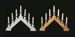Christmas Wooden Candlebridge 7 Bulb Natural or White Welcome Light