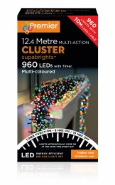 960 LED Premier Cluster Christmas Tree Lights With Timer Multi- Coloured