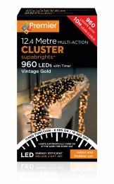 960 LED Premier Cluster Christmas Tree Lights With Timer Vintage Gold
