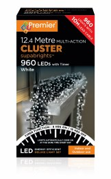 960 LED Premier Cluster Christmas Tree Lights With Timer Cool White