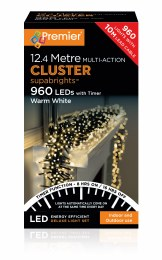960 LED Premier Cluster Christmas Tree Lights With Timer Warm White