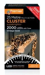 2000 Multi Action Vintage Gold Cluster Christmas Lights