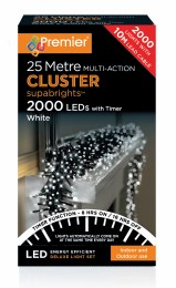 2000 Multi Action Cool White Cluster Christmas Lights
