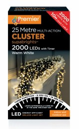 2000 Multi Action Warm White Cluster Christmas Lights
