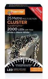 2000 Multi Action with Cool White and Warm White Cluster Christmas Lights