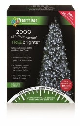 2000 Cool White Multi-Action Treebrights LED Christmas Lights 60m Cable With Timer