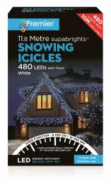 480 Supabright Snowing Icicles Christmas Lights Cool White 11.8m