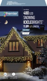 480 Supabright Snowing Icicles Christmas Lights Warm White 11.8m