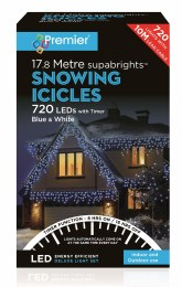 Snowing Icicle Lights 720 Blue & Cool White LED Christmas Lights 17.8m Cable With Timer