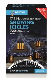 Snowing Icicle Lights 720 Cool White LED Christmas Lights 17.8m Cable With Timer