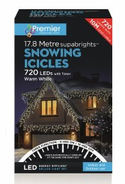 Snowing Icicle Lights 720 Warm White LED Christmas Lights 17.8m Cable With Timer