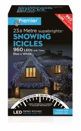 Snowing Icicle Lights 960 Blue & Cool White LED Christmas Lights 23.8m Cable With Timer