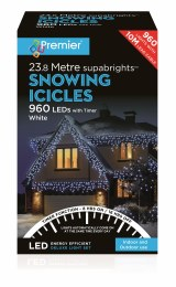 Snowing Icicle Lights 960 Cool White LED Christmas Lights 23.8m Cable With Timer