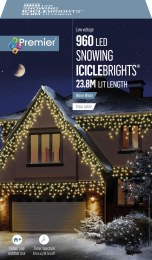 Snowing Icicle Lights 960 Warm White LED Christmas Lights 23.8m Cable With Timer