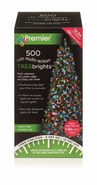500 Premier Treebrights Christmas Lights Multi-Coloured 12.5m Cable with Timer