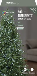 500 Premier Treebrights Christmas Lights Cool White 12.5m Cable with Timer