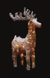 Christmas Rattan Frosted Reindeer With 72 Copper Wire Lights 83cm Tall