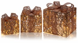 Christmas Giftbox with Twinkle Rose Gold Lights 3 Piece