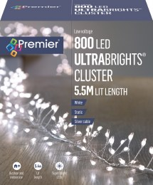800 Ultrabrights Pin Wire Cluster Lights White 5.5m
