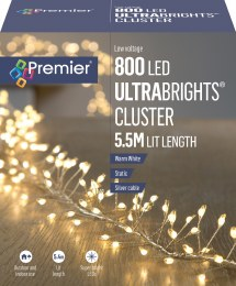 800 Ultrabrights Pin Wire Cluster Lights Warm White 5.5m