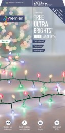 1000 Ultrabrights Multi-Colour LED Christmas Lights on Green Wire with Timer 20m