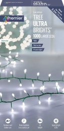 1000 Ultrabrights Cool White LED Christmas Lights on Green Wire with Timer 20m