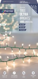 Premier Ultrabrights 1000 Warm White LED Christmas Lights on Green Wire with Timer
