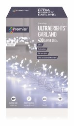 Premier Ultrabrights 430 Multi-Colour LED Christmas Garland Lights on Silver Wire with Timer