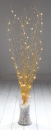 Gold Lit Twigs with 45 Warm White Lights 100cm Tall