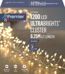 1200 Ultrabrights Cluster Lights Warm White 8.25m