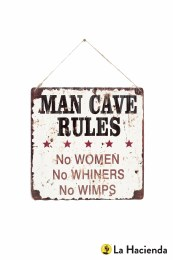 La Hacienda Embossed Steel Sign - Man Cave Rules