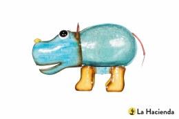 La Hacienda Solar Powered Hippo Garden Ornament - Harry