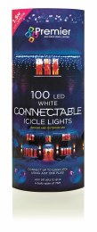 Premier Connectable 100 LED Cool White Icicle Lights With Plug 1.5m