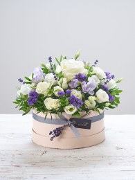 Lovely Lilacs New Baby Hatbox with Bramble Bear