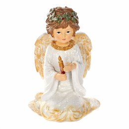 Angel Decoration Sitting With Candle White & Gold 13cm