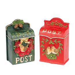 Christmas Robin Post Box Wall Display Green or Red 15.5cm