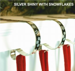 Christmas Stocking Holder Mantel Clips Silver with White Snowflakes Pack of 2