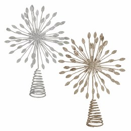 Christmas Metal Tree Topper Gold or Silver