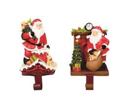 Christmas Stocking Holder Santa on Chimney with Gifts 24cm