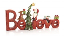 Christmas Sign 'Believe' Word with Santa and Characters Ornament 32 x 12cm