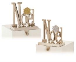 Christmas Stocking Holder 'Noel' Gold or Silver 16cm