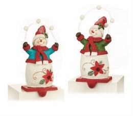 Christmas Stocking Holder Snowman juggling snowballs